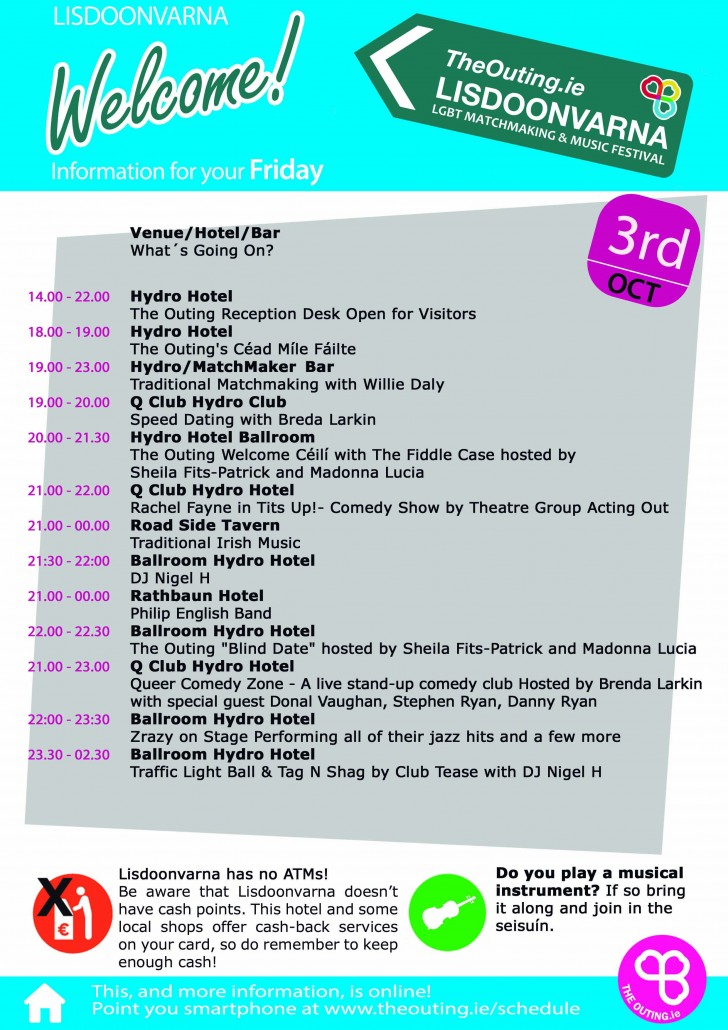 Friday Schedule at The Outing Lisdoonvarna 2014