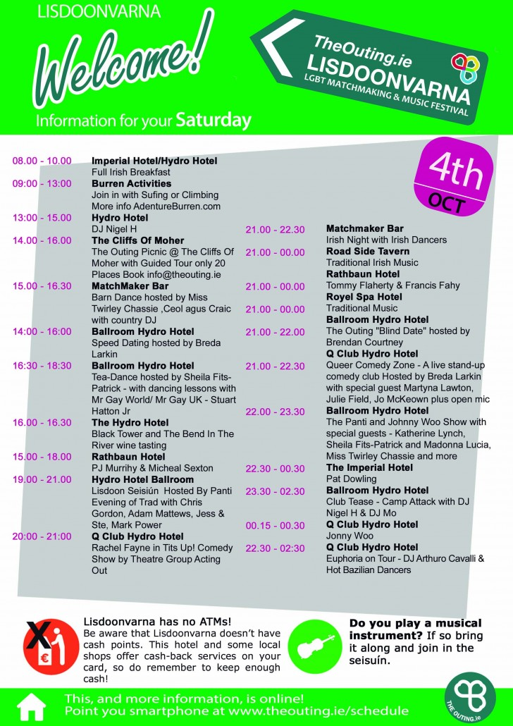 Saturday Schedule at The Outing Lisdoonvarna